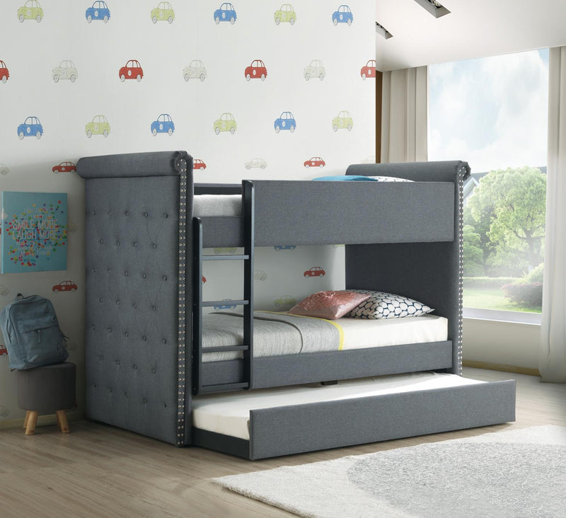 Jamboree Twin Bunk Bed with Trundle – Grey