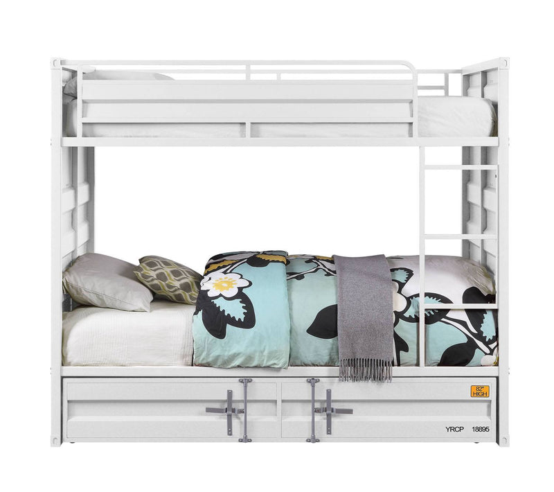 Konto Industrial Twin Bunk Bed with Trundle - White