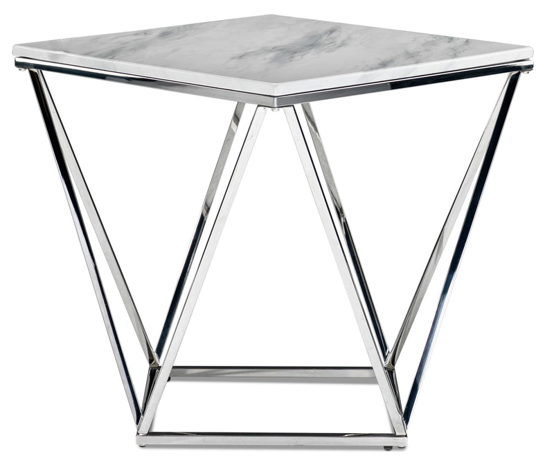 Raleigh End Table - White and Chrome
