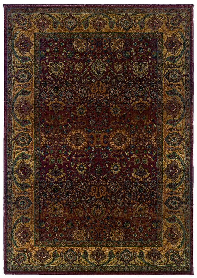 "Alexandria Red/Gold Oriental Area Rug (5'3"" x 7'6"")"