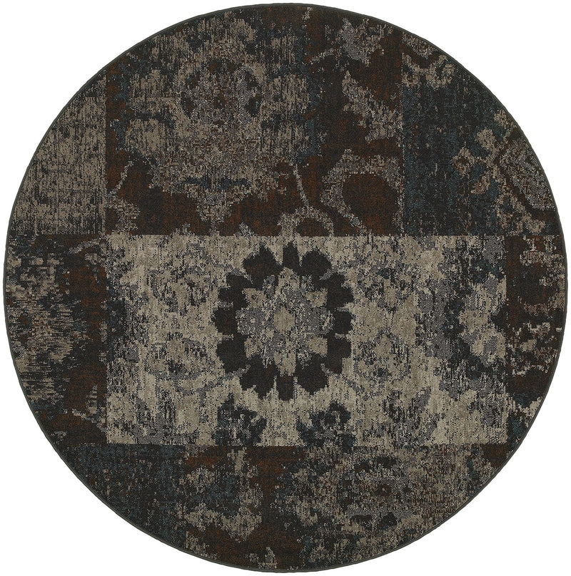 "Anthem Charcoal Overdyed Patchwork Area Rug (7'8"" Round)"