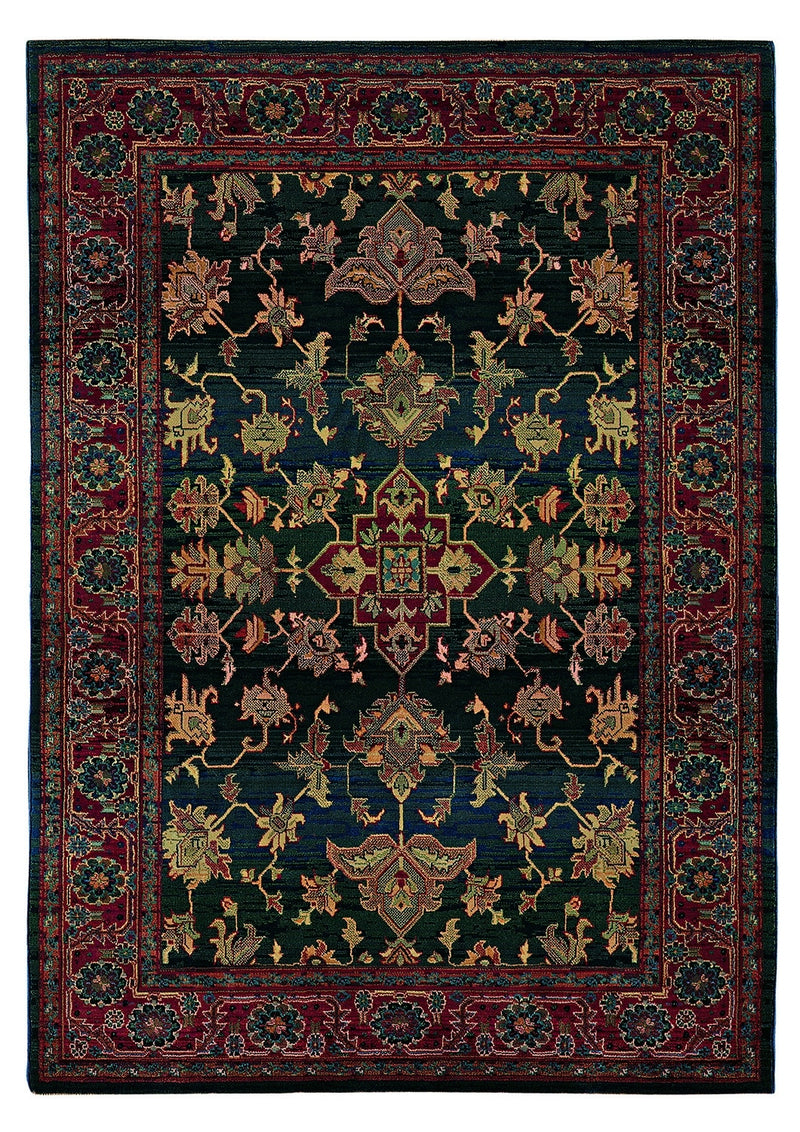 "Alexandria Blue/Red Oriental Area Rug (5'3"" x 7'6"")"