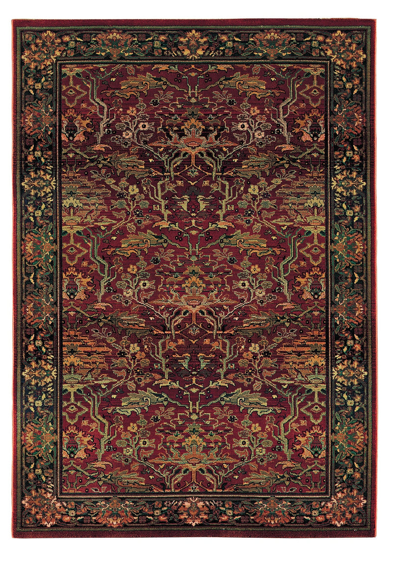 "Alexandria Red/Green Oriental Area Rug (5'3"" x 7'6"")"
