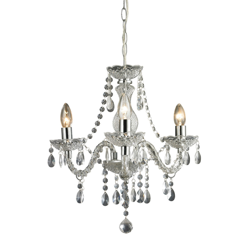 Theatre Three Light Clear Mini Chandelier