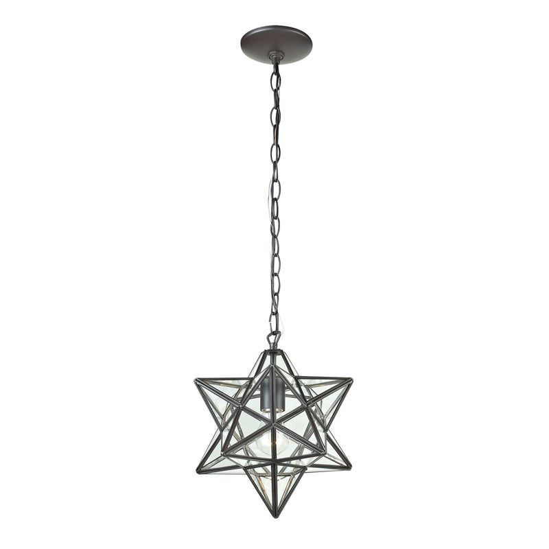 Star One Light Glass Pendant Lamp - 9""