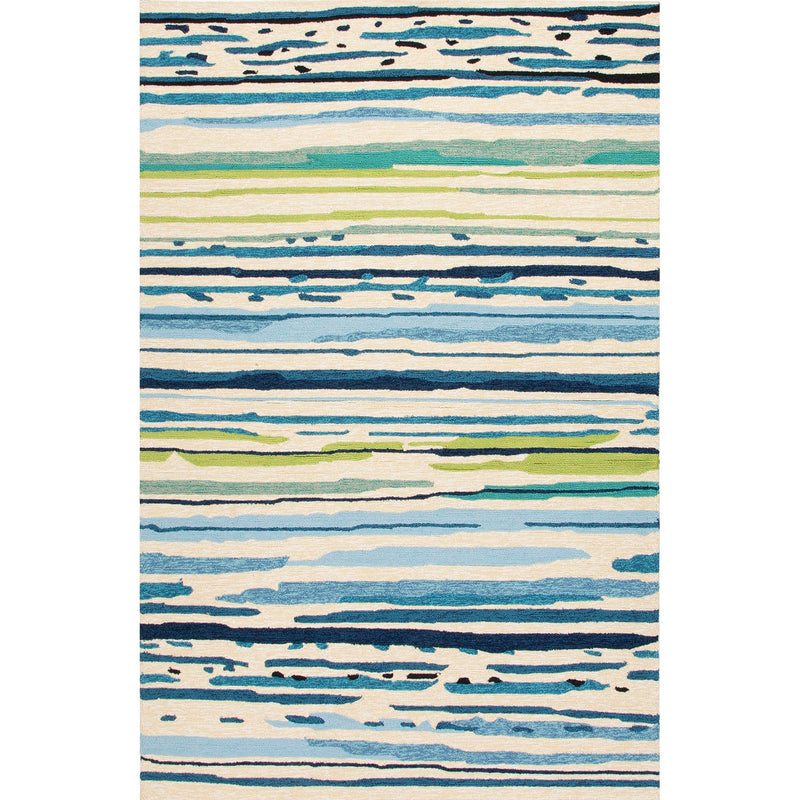 Sketchy Lines 5'X7.6' Area Rug - Snow White Mallard Blue