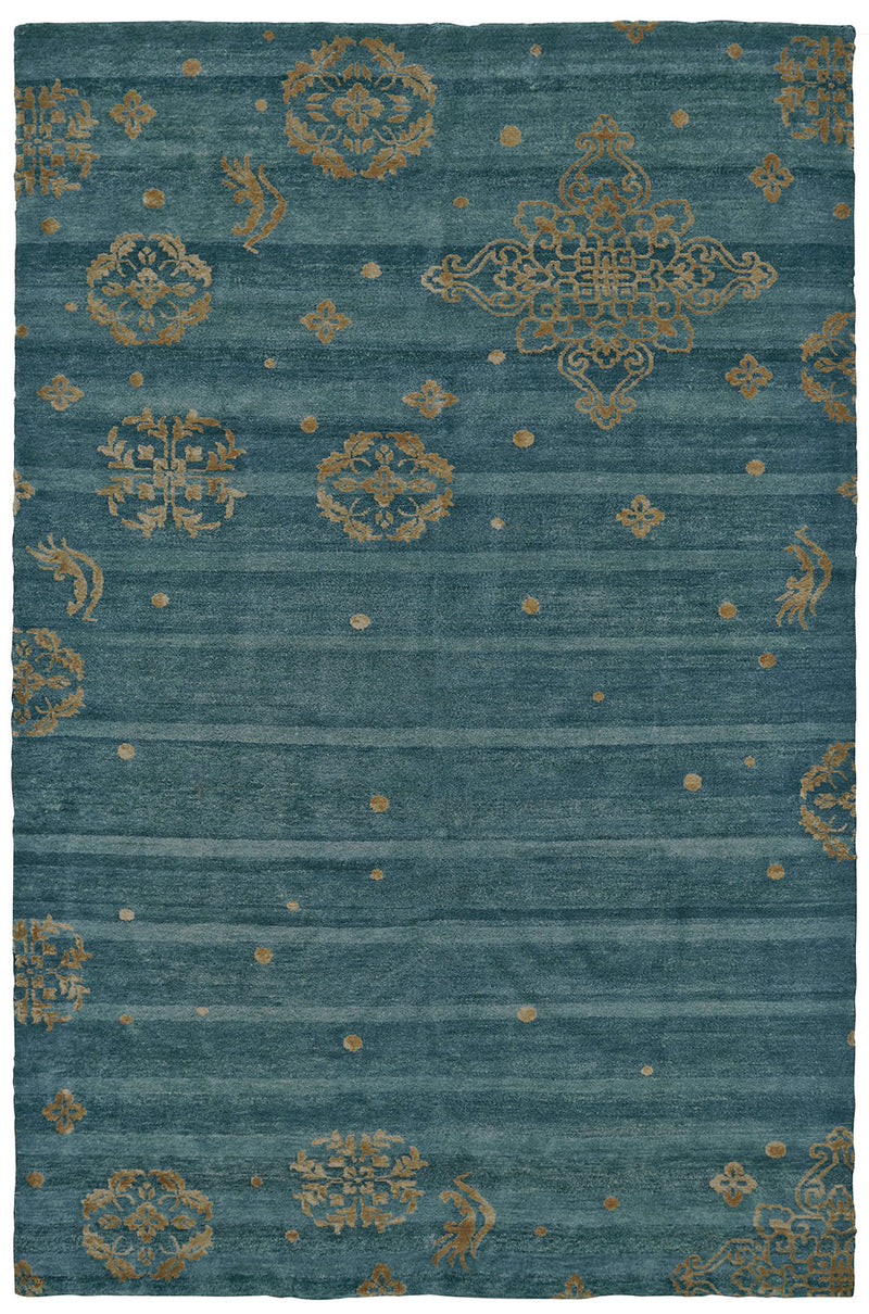 "Qing Teal 7'9"" x 9'9"" Area Rug"