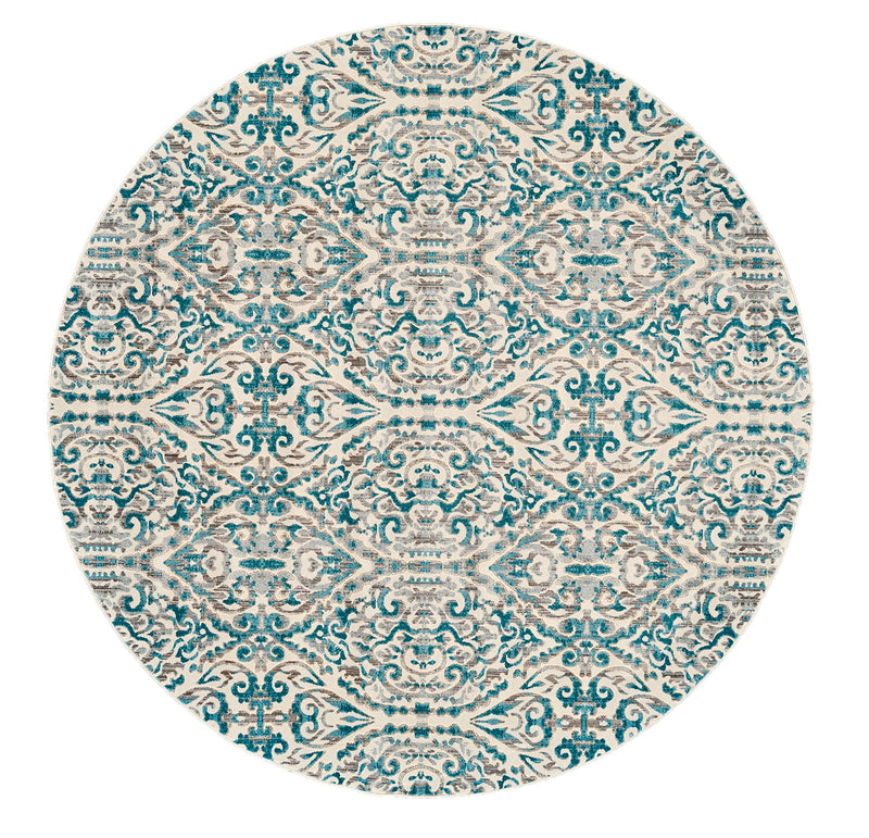 "Keats Turquoise 8'9"" X 8'9"" Round Area Rug"