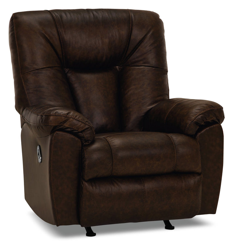 Inspired by U Genuine Leather Power Rocker Recliner with USB Port - Tobacco
