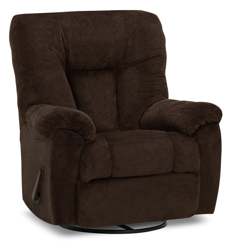 Inspired by U Chenille Swivel Rocker Recliner - Earth Chocolate