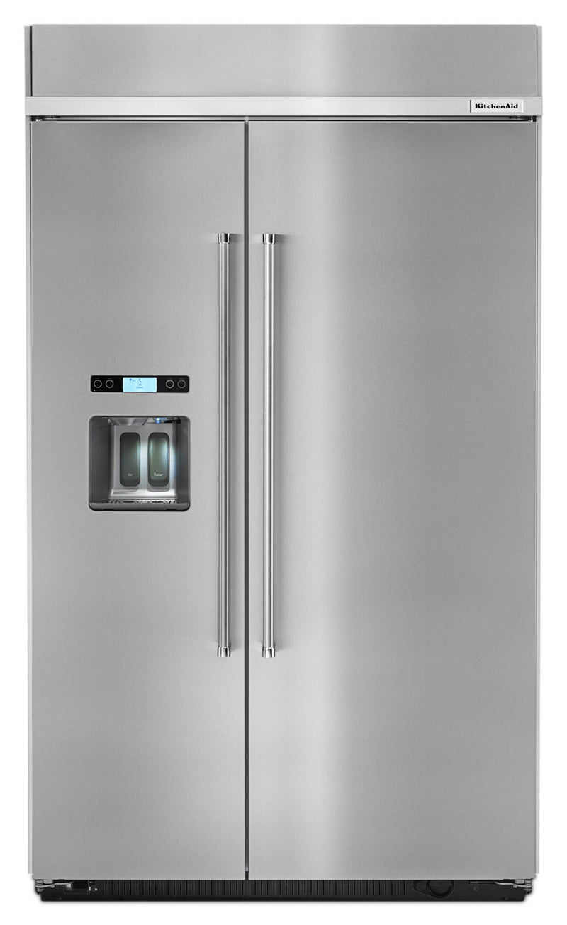 KitchenAid 29.5 Cu. Ft. Built-In Side-by-Side Refrigerator - KBSD618ESS