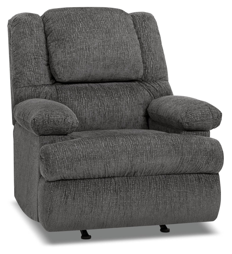 Inspired by U Chenille Power Massage Recliner with Storage Arm - Atlantic Graphite