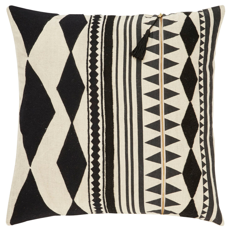 "Epps Down Fill Decorative Cushion - Cream/Jet Black (22""X22"")"