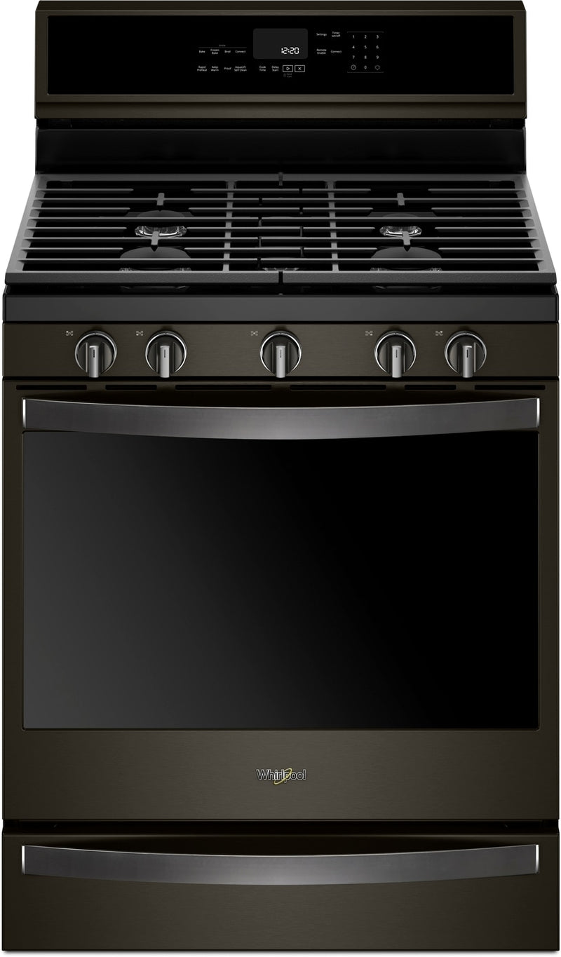 Whirlpool Black Stainless Steel Freestanding Gas True Convection Range (5.8 Cu. Ft.) - WFG975H0HV
