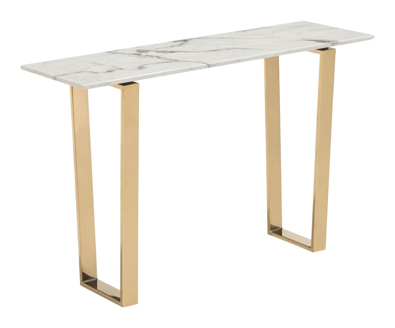 Nezahual Console Table - Stone/Gold