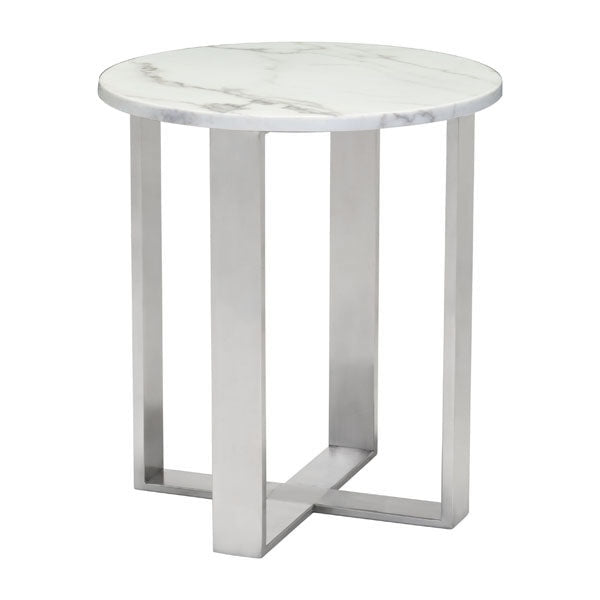 Nezahual End Table - Stone/Stainless Steel
