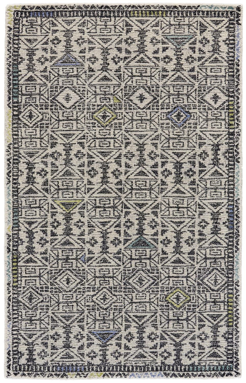 "Mozza 9'-6"" X 13'-6"" - Black / Line Area Rug"