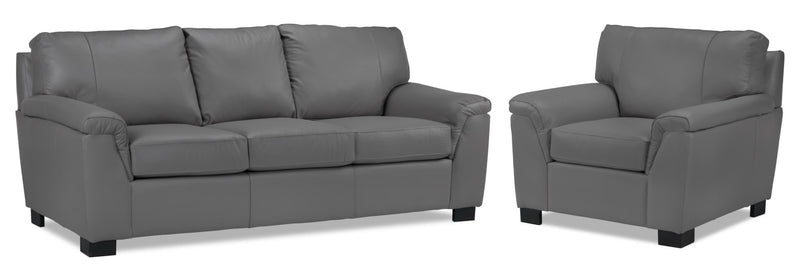 Campbell Sofa and Loveseat Set - Grey