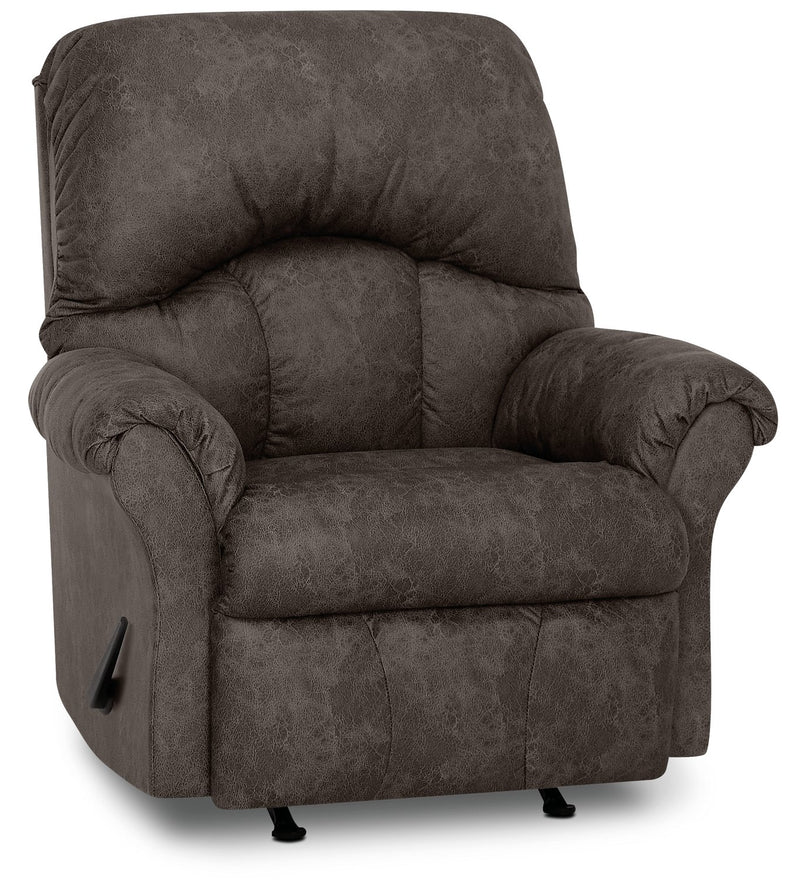 Inspired by U Leather-Look Fabric Rocker Recliner - Commodore Shadow