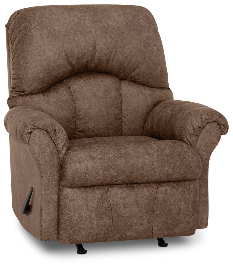 Inspired by U Leather-Look Fabric Rocker Recliner - Commodore Tan