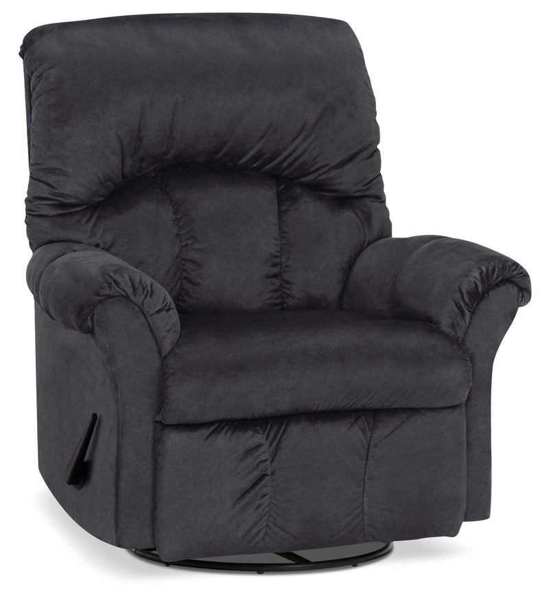 Inspired by U Chenille Swivel Rocker Recliner - Fighter Charcoal