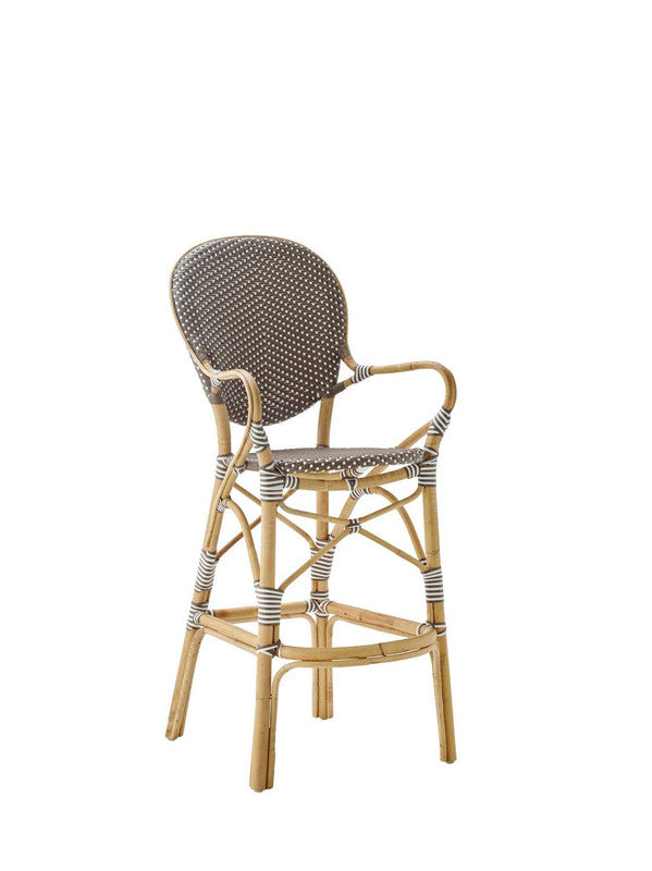Robora Natural Rattan Barstool - Dark Brown / White