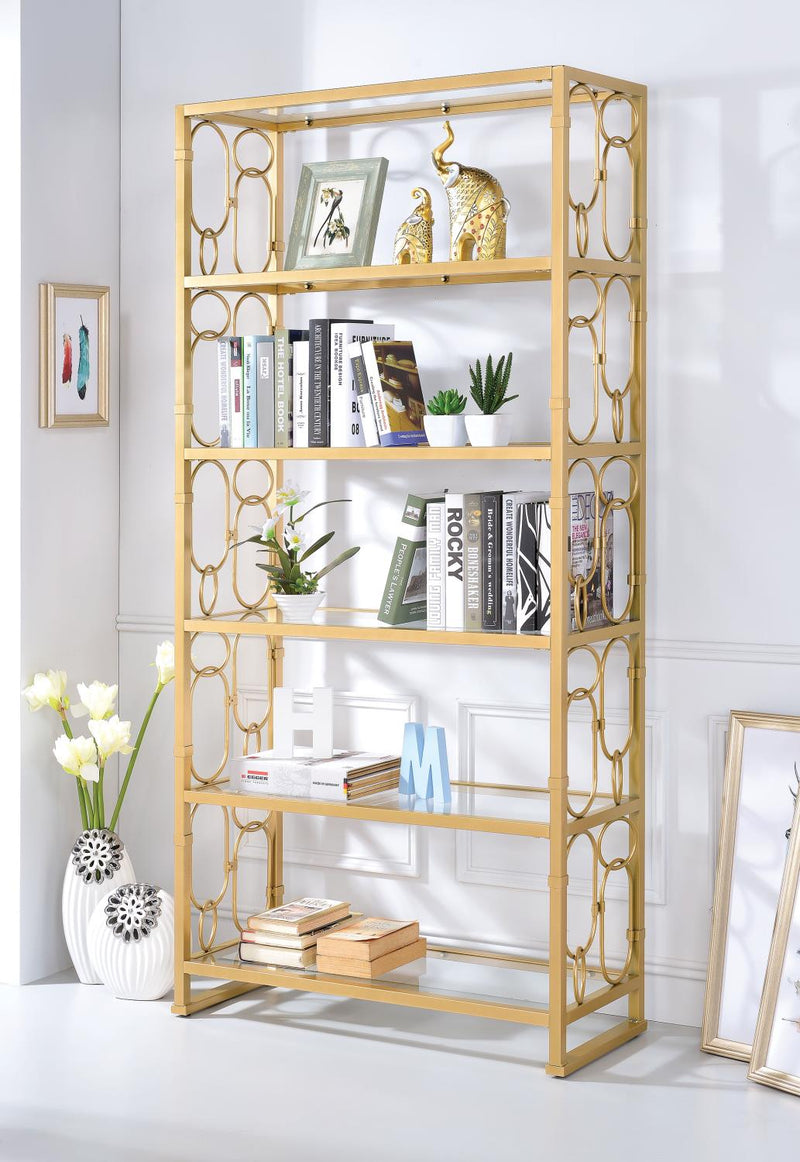 Avenal - III Bookshelf - Gold and Clear Glass
