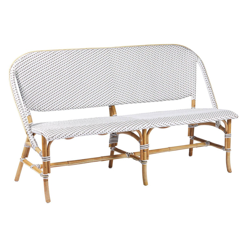 Okojima Natural Rattan Bench - White / Dark Brown