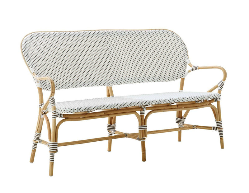 Robora Natural Rattan Bench  - White / Dark Brown
