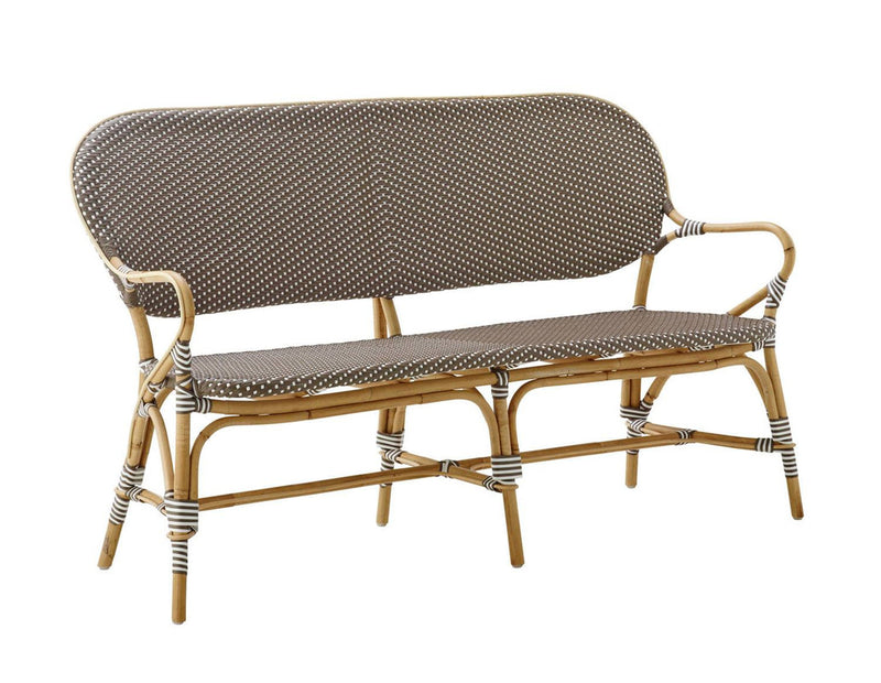 Robora Natural Rattan Bench  - Dark Brown / White