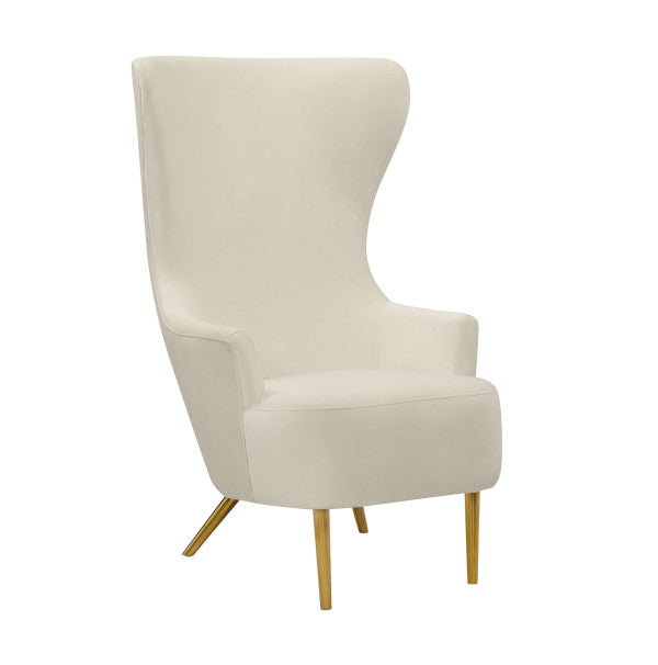 Elray Velvet Wingback Accent Chair - Cream