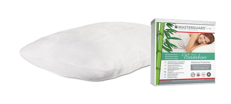 Masterguard® Natural Bamboo™ Full Mattress Protector with 1 Natural Bamboo Pillow