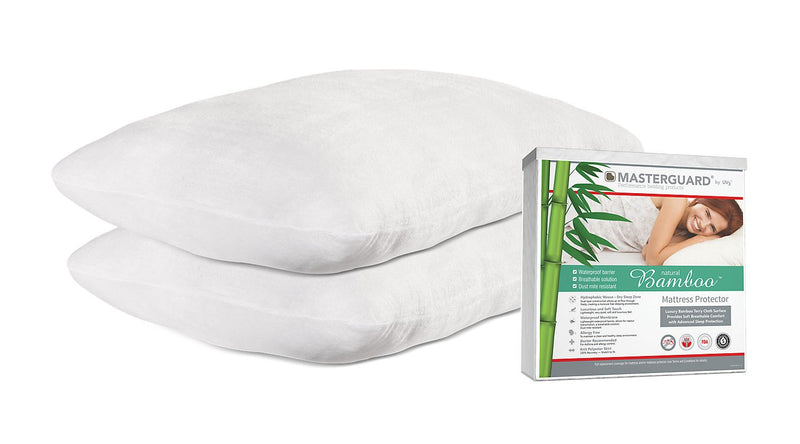 Masterguard® Natural Bamboo™ Queen Mattress Protector with 2 Natural Bamboo Pillows