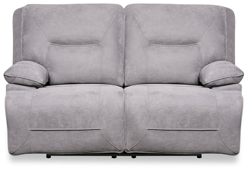 Gough Faux Suede Power Reclining Loveseat - Grey