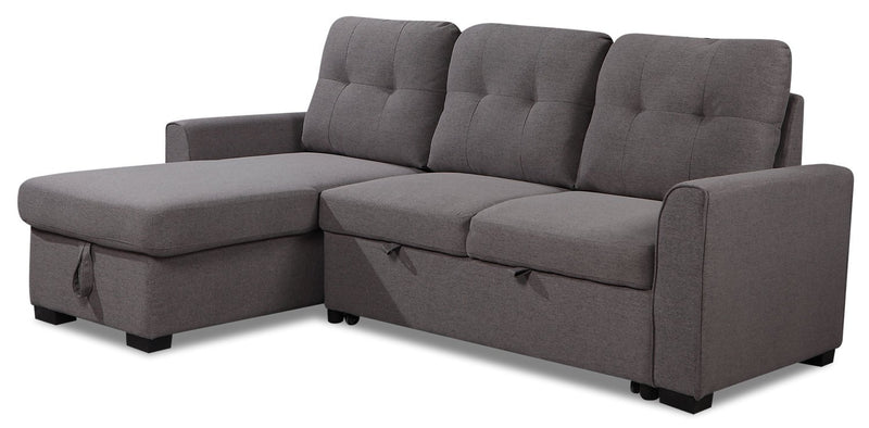 Happes 2-Piece Left-Facing Linen-Look Fabric Sleeper Sectional - Solis Grey