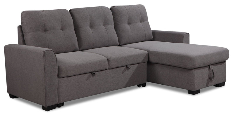 Happes 2-Piece Right-Facing Linen-Look Fabric Sleeper Sectional - Solis Grey