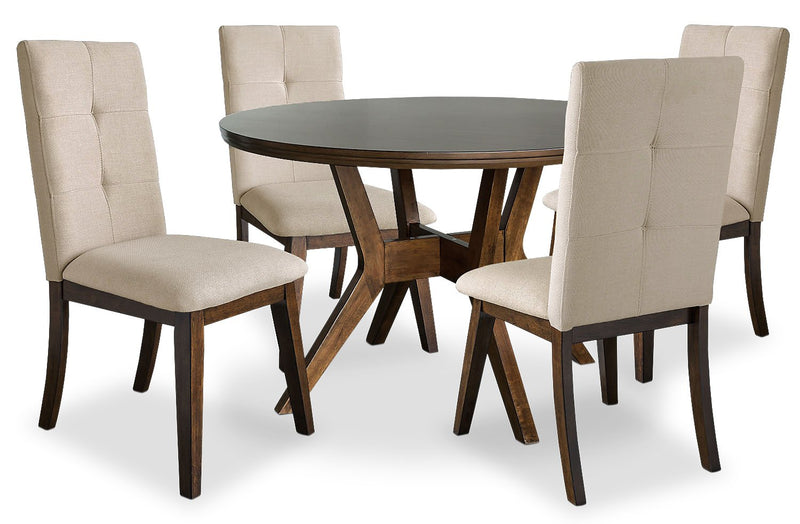 Argyle 5-Piece Round Dining Table Package with Beige Chairs