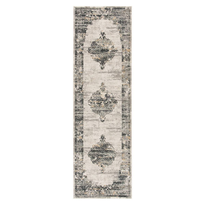 "Mesala VII Area Rug - 2'6"" X 8' Runner - Grey/Ivory"
