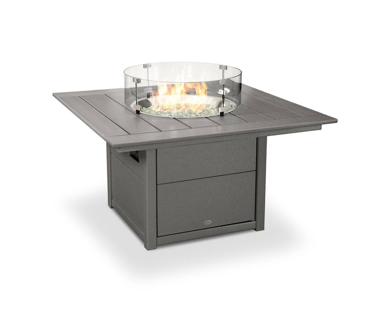 "POLYWOOD® Square 42"" Fire Pit Table in Slate Grey"