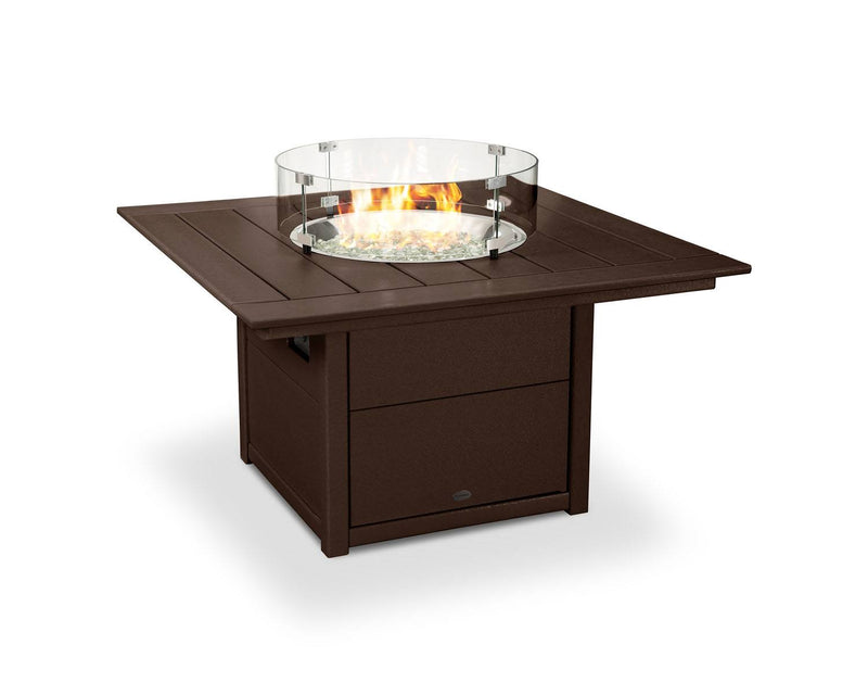 "POLYWOOD® Square 42"" Fire Pit Table in Mahogany"