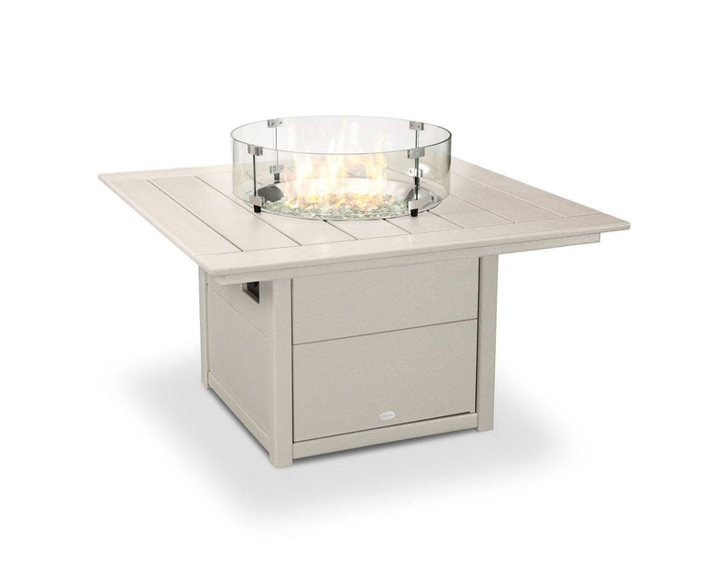 "POLYWOOD® Square 42"" Fire Pit Table in Sand"