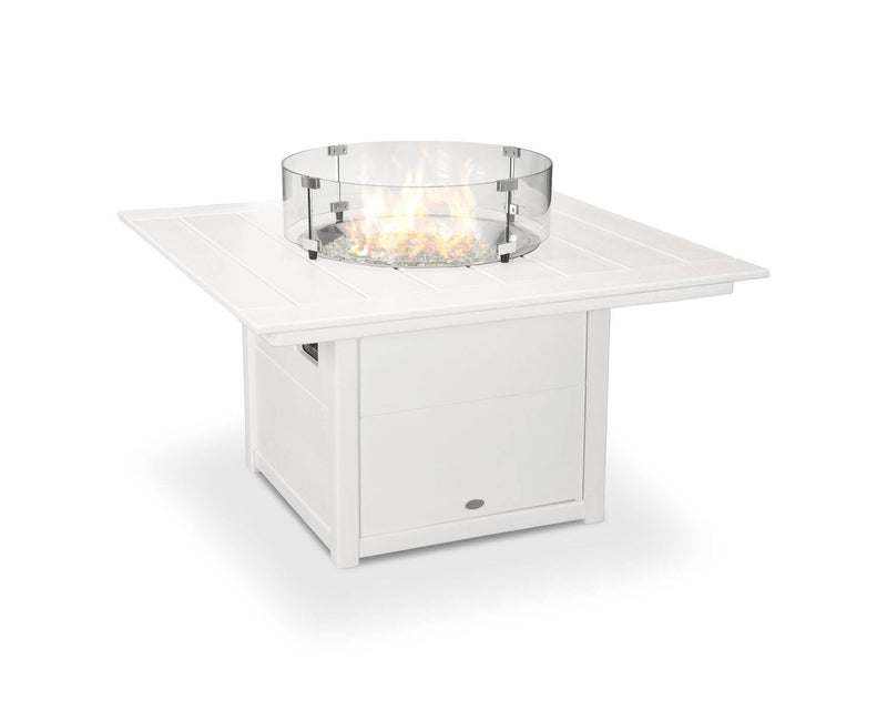 "POLYWOOD® Square 42"" Fire Pit Table in White"
