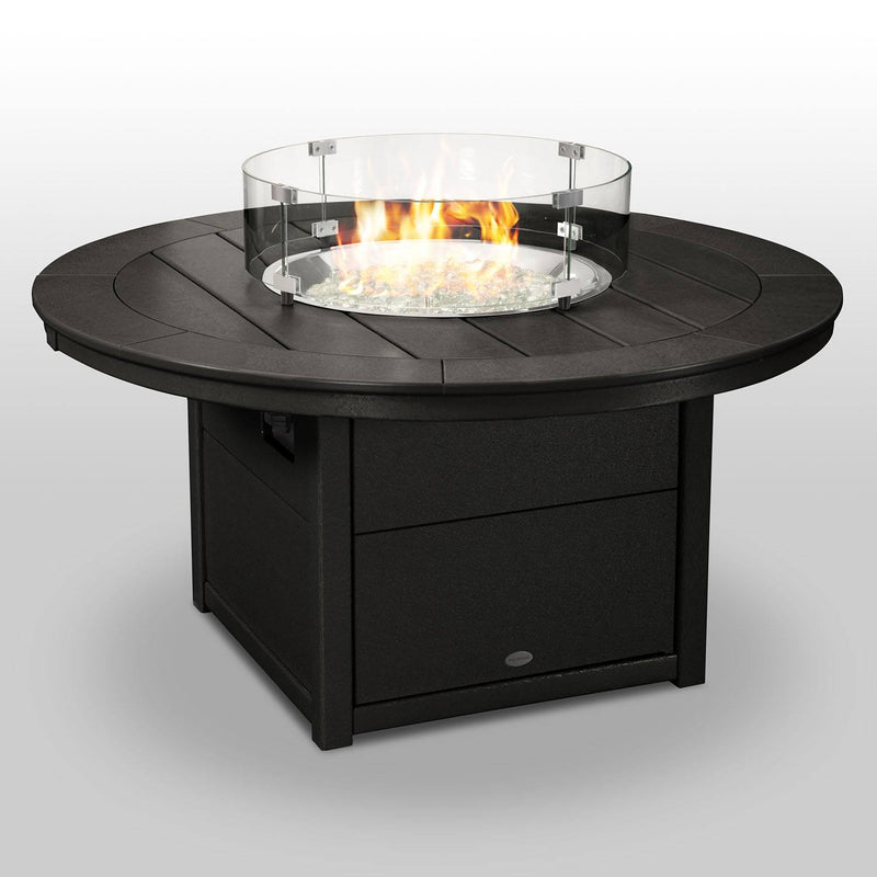 "POLYWOOD® Round 48"" Fire Pit Table in Black"