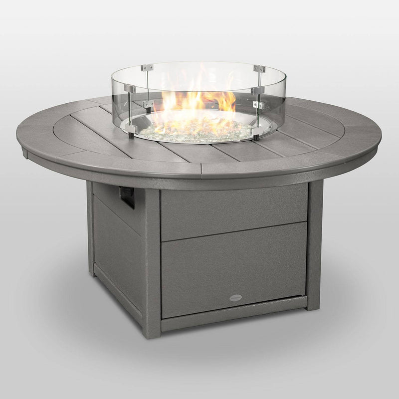 "POLYWOOD® Round 48"" Fire Pit Table in Slate Grey"