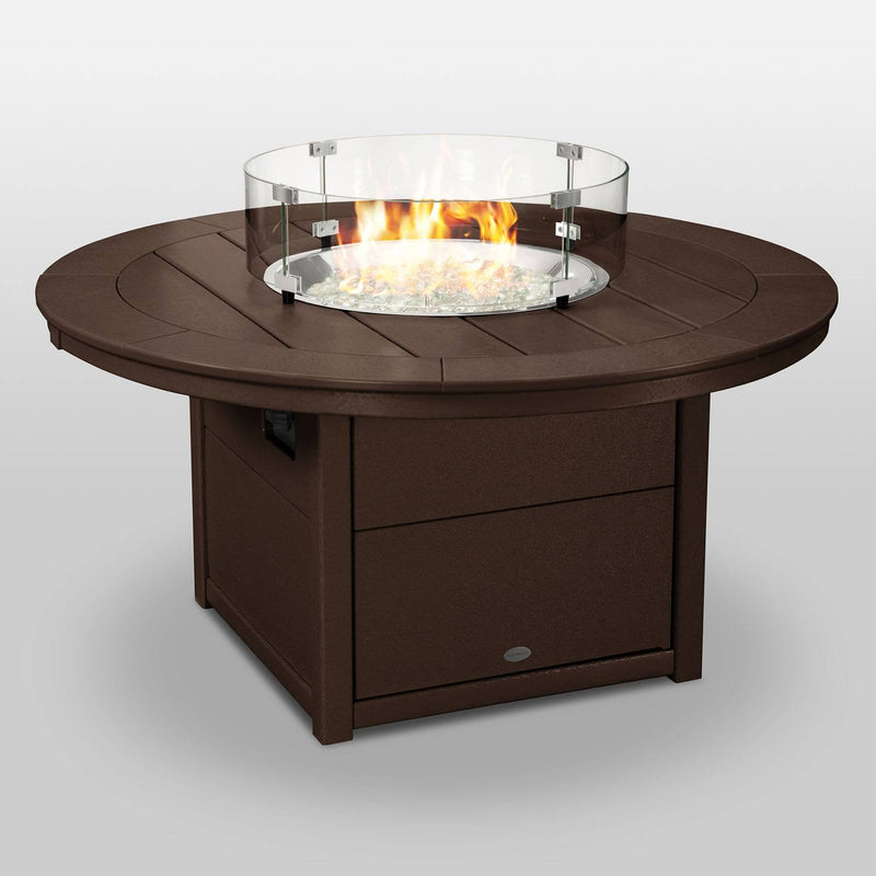 "POLYWOOD® Round 48"" Fire Pit Table in Mahogany"