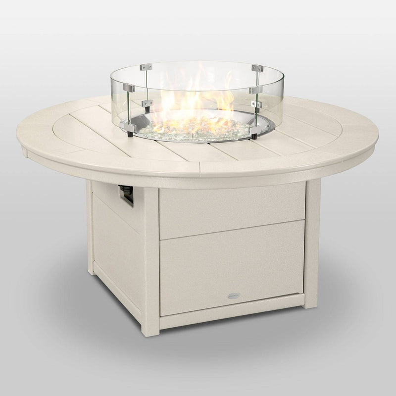 "POLYWOOD® Round 48"" Fire Pit Table in Sand"