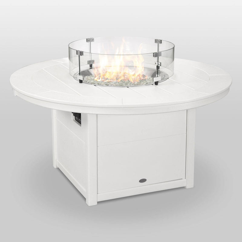 "POLYWOOD® Round 48"" Fire Pit Table in White"