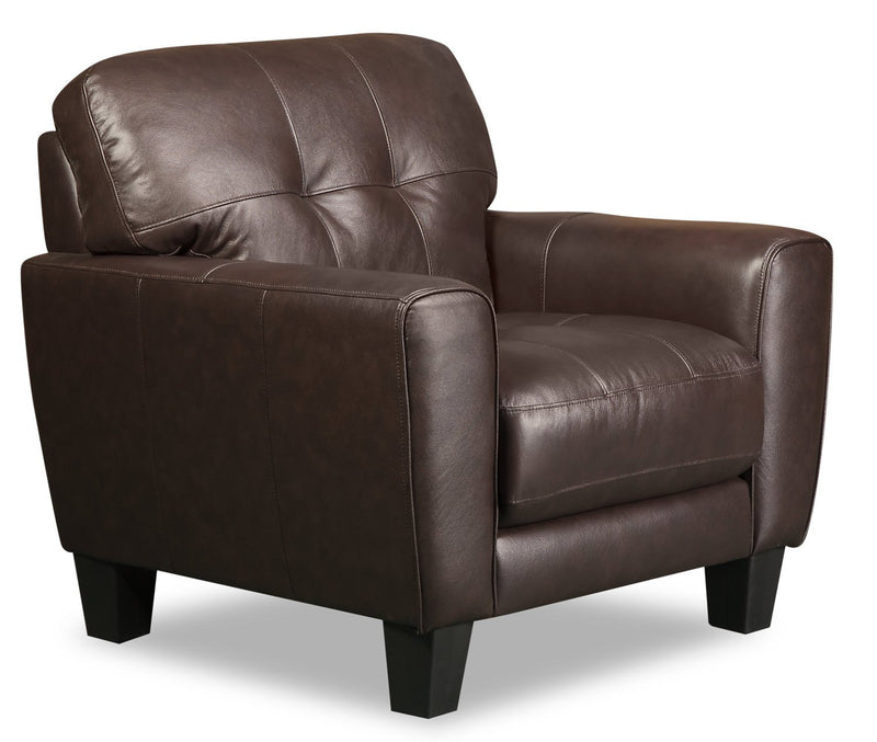 Cousteau Genuine Leather Chair - Brown