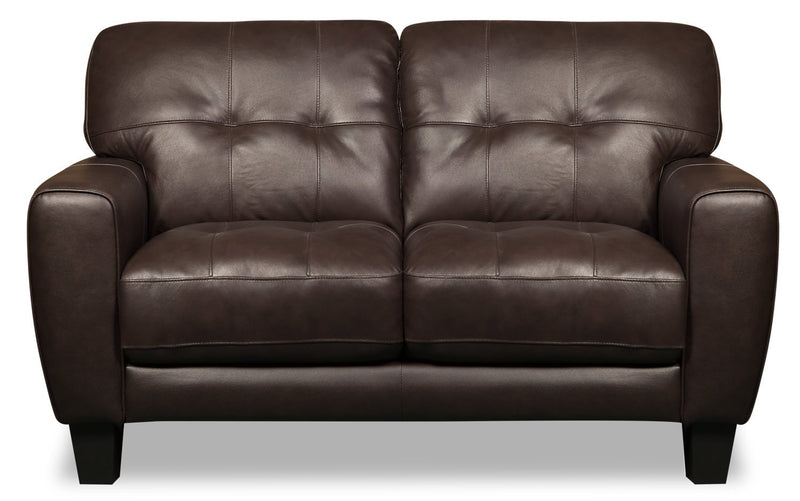 Cousteau Genuine Leather Loveseat - Brown