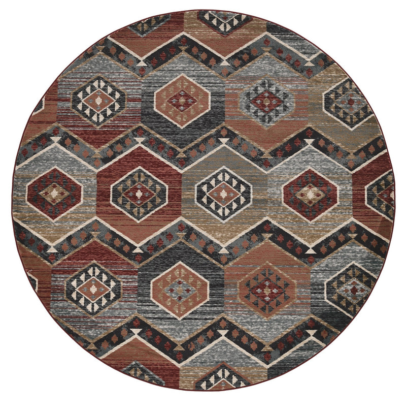 "Castaic I 7'10"" - Red Round Area Rug"